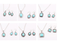 Wholesale Antique Natural Turquoise Necklace Turquoise Stone Pendant Necklace Earrings Jewelry Set ZST51