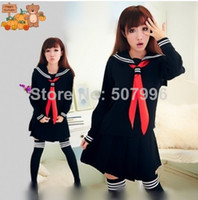 academic dress - woman Japanese student sailor uniforms dress academic school uniforms pleated skirt suit top skirt scarf socks D