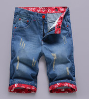 Jeans Men Classic Straight Top Quality!Designer Brand!Free Shipping 2014 Summer Men's Short Hole jeans Ripped jeans Cotton Denim Short jeans Man
