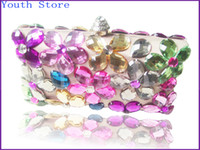 Wholesale Floral Rhinestone Evening Bag Colrful Crystal Box Clutch Hand Sewed Rhine Stone Handbag Purse for Party RC004