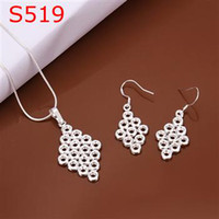 Wholesale Chinese Silver Necklaces - 5 set lot New Necklace Earing set Chinese Knot 18'' 925 sterling silver s519 Fashion