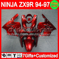 ALL Stock Red 7gifts+ Kit For KAWASAKI NINJA ZX9R 94- 97 ZX 9R...