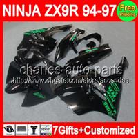 achat en gros de zx 9r 94 97 carénages-7gifts + Kit Pour KAWASAKI NINJA ZX 9R ZX9R 94-97 9 R All Black C # L270 ZX- 9R 94 95 96 97 1994 1995 1996 1997 carénages Gloss noir vert Sur Vente