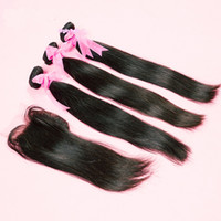 """Brazilian Hair Natural Color Straight Wholesale - Free Shipping!Brazilian Human Hair Weft 3 Bundles And Top Lace Closure(4""""x4"""") 1Pcs Straight Natural Color For a Full Head Quee"""