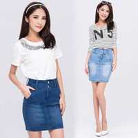 Cotton Above Knee Women Free Shipping New Summer 2014 Fashion Casual Women High Waist Pencil Jeans Skirts Denim Mini Bust Skirt With Pockets N90312