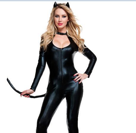 Halloween Women Sexy Animal Timber Catwomen Cat Eyes Cosplay Costume Party Uniform