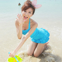 Wholesale The new spike Korean female Siamese skirt swimsuit steel prop gather small chest was thin Korean spa swimwear swimsuit