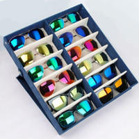 Wholesale Factory Outlet can erect high grade suede grid storage box jewelry display boxes of glasses sunglasses
