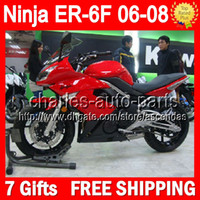 Wholesale 7gifts Red black For KAWASAKI ER F NINJA R Customize T582 Factory red blk NINJA650 ER F ER6F Fairing