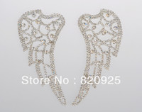 Wholesale 1 X Mirror Pair Clear Crystal Rhinestone Applique Motif Wing for Dress Costume