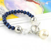 Other Women's Zhejiang, China (Mainland) Fashion Accessories,Elegant Wooden Soft Blue Beads Big Pearl Linked Stretch Bracelets & Bangles, BR-842