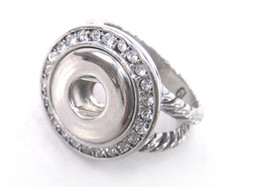 Wholesale New Arrival twist Chain heart engrave botton CZ stone ring DIY pocket cm metal chunks snap button charm ring