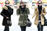 Down Coats Women Cotton women coat new spring 2014 sobretudo feminino casual manteau femme fur hooded army green parka long fur coat abrigos mujer