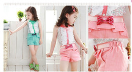 Wholesale Children s Kids Summer Autumn outfits Girls Clothing Floral Pattern Button Tshirts Bowknot Pants Pink Green Color