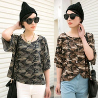 Women Cotton Round utility Hot Women Classic camouflage loose Short-sleeved lady T-shirt Blouse tops D149