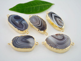 Wholesale 5 kt Gold Plated Edge VIEW Agate Stone Connector in Natural color Gemstone Connectors Pendant