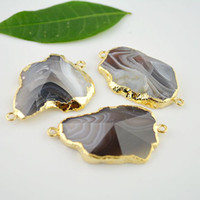 Wholesale 3 Gold Plated Edge Faceted VIEW Agate Stone Connector in Natural color Gemstone Connectors Pendant Jewelry Findings