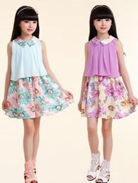 Wholesale 2014 Summer Children Lovely Floral Lapel Collar Printed Princess Dresses Korean Girl s Sleeveless Chiffon Dresses Young Kid Vest Dress I1186
