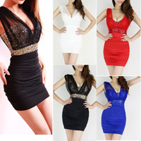 Casual Dresses V_Neck Mini 2014 Sexy Lace Dress Short Tight Mini Luxury Club Satin Women Clothes sequined Party Evening black dresses G0465