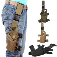 Wholesale 2014 NEW Outdoor Military Hunting Tactical Puttee Thigh Leg Pistol Gun Holster Pouch Bag Wrap around Khaki Green Black H10155