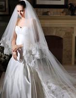 One-Layer 3 m Lace Applique Edge Upscale bridal veil. 3 meters long veil. Car bone pearl yarn. Location only beautiful wedding dress. Wedding accessories .DISCOUNT 1PCS HZ