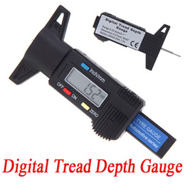 Wholesale Black Digital LCD Tyre Tire Tread Depth Gauge mm Metric Inch ABS Plastic Clear Brake Shoe Pad Dignostic Tools K1179