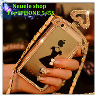 chain metal dress - For iPhone S Bling Diamond Shoulder Bag Perfume Bottle Case Little Black Dress Design with Luxury Metal Chain Smart Cellphone Case Cover