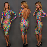 Round bodycon dress - Summer Oil painting of digital printing dress sexy night club party bodycon dresses women