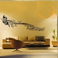 Wholesale Large Music Note Flying Butterfly Wall Decals Sticker Home Decor Removable DIY