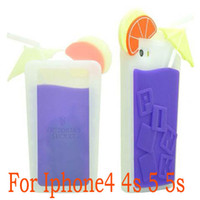 Wholesale 3D Victoria s Pink Secret Unique Fruit juice Cup Shape Design Silicon Case For iPhone5 S for apple iPhone s DHL