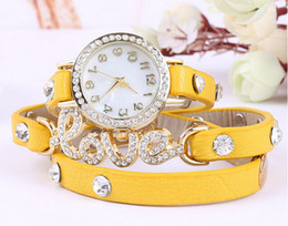 Wholesale quot LOVE quot Crystal Bracelet watches Chain Leather Wrapped Bracelet Watch Women Quartz Watches Vine Leather Belt best Valentines Gifts