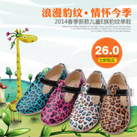 Summer Playful shoes 8 Rose Red white blue brown lake 2014 spring new casual cartoon girls round Velcro E Family leopard skin shoes cute princess Peas