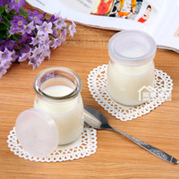 Glass glass milk bottle - High temperature lead free pudding pudding bottle milk bottle and small cheese glass bottle covers dodder