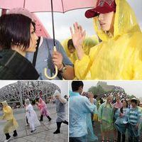 plastic raincoat - Korean men and women riding outdoor travel light transparent plastic raincoat disposable raincoat poncho with hood owl