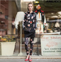 Wholesale 2014 Hot Selling Summer Fashion Celebrity Brand Tracksuits For Women Rose Floral pieces Sports Suits Set Sport Clothes Women