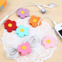 Wholesale Purple flowers blossoming purple candy colored Winder Snap Korea lovely fabric cable management reel Shen