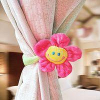 Wholesale Golden Delicious Korean cute smile sunflower curtain buckle straps plush cartoon curtain color optional single sales