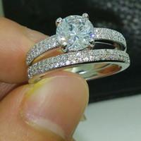 Wholesale Brand New FASHION Jewelry Lady White Sapphire Gemstones Sterling Silver Wedding Band Ring set Sz5