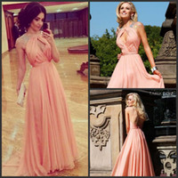 Reference Images Halter Chiffon 2014 New Elegant Nude Pink Sexy Keyhole Front Cap-sleeve Beaded Tarik Edize Night Gown Backless Evening Dress Prom Dresses