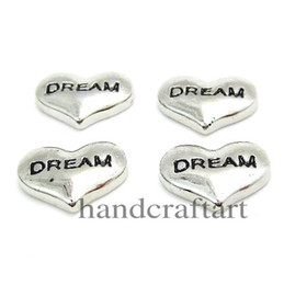 Wholesale 10PCS MM quot DREAM quot Floating charms Zinc Alloy Fit Floating lockets Floating locket braceletLSFC063
