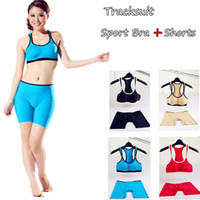 Wholesale 4 sets Womens Athletic Tracksuit Yoga Running Dance Clothes Set No Steel Seamless Sport Tank Tops Bra Compression Shorts