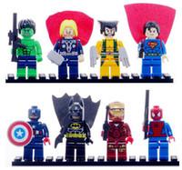 Wholesale Super Heroes Avengers Iron Man Hulk Batman Wolverine Thor Spider Man Building Blocks Minifigures children Toys