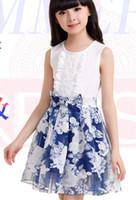 Wholesale 2014 Summer Children Girls Flower Printed Sleeveless Princess Dreses Girl Ruffle Vest Gauze Dressy Kids Leisrue Bowknot Belt Dress I1194