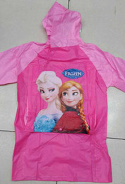 Wholesale Hot Sale New Children Rain Cape Cartoon Pattern Frozen Elsa Anna Design Kids Childs Raincoat PVC Hooded Kid Child Rain Coat