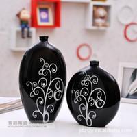 High temperature ceramic ceramics and pottery - Jingdezhen Ceramic pottery factory direct ornaments modern home decoration black and white vase i