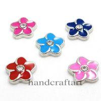 Wholesale 10PCS MM quot Flower quot Floating charms Mix Color Zinc Alloy Fit Floating lockets Floating locket bracelet LSFC035