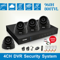 Dome ZSZR04BA/05-ZM4317AK4 1/3'' Color CMOS ZOSI HDMI 4CH DVR WITH 500GB HDD 4xHD 800TVL 1 3'' Color CMOS FULL D1 IR CUT outdoor DOME CAMERA CCTV SYSTEM surveillance system DVR KIT