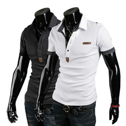 Wholesale 2014 New Arrival Men s Summer Casual Slim Fit British Leather Logo Embroidery Polo Shirt T Shirts Short Sleeves Tee Top Fashion