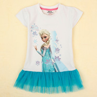 Wholesale frozen girls tops nova new arrivals summer kids clothing cartoon Elsa print white t shirts blue tulle girls shirt dress K5143