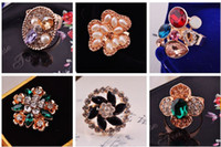 With Side Stones Korea Women's Wholesale - Mixed Lots 50pcs Enamel & Bronze Plated Rings Personality crystal Rings Jewelry Fashion Vintage Adjustable Rings Many Styles